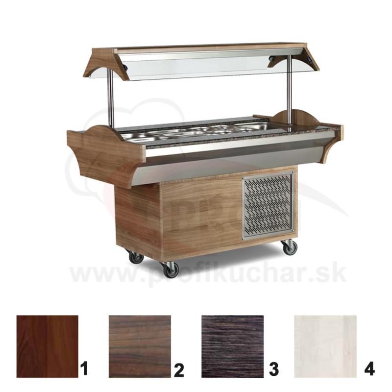 Chladený bufetový stol – 6 GN –  javor