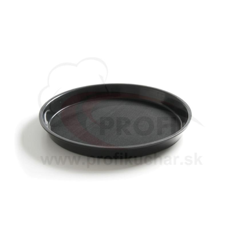 Servírovací podnos okrúhly s okrajom - priemer: 32 cm - čierny