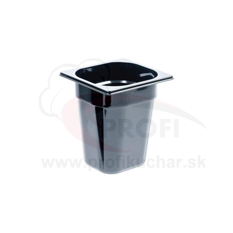 GN nádoba 1/6-200mm, čierný polykarbonát