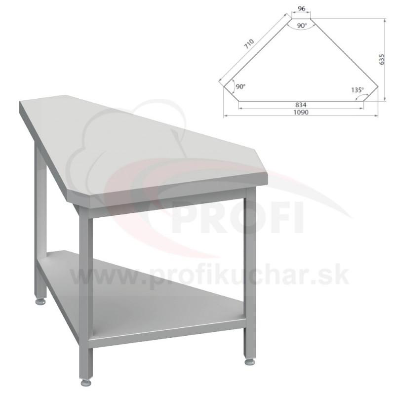 Neutrálný výdajný stoly rohový 90° - vnútorný – 697x800x880mm