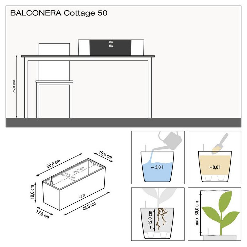 Lechuza Balconera Cottage 50 sand brown komplet