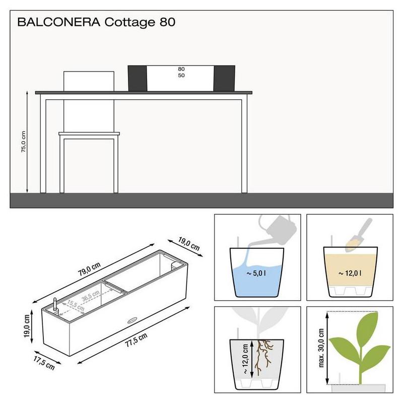 Lechuza Balconera Cottage 80 granit komplet