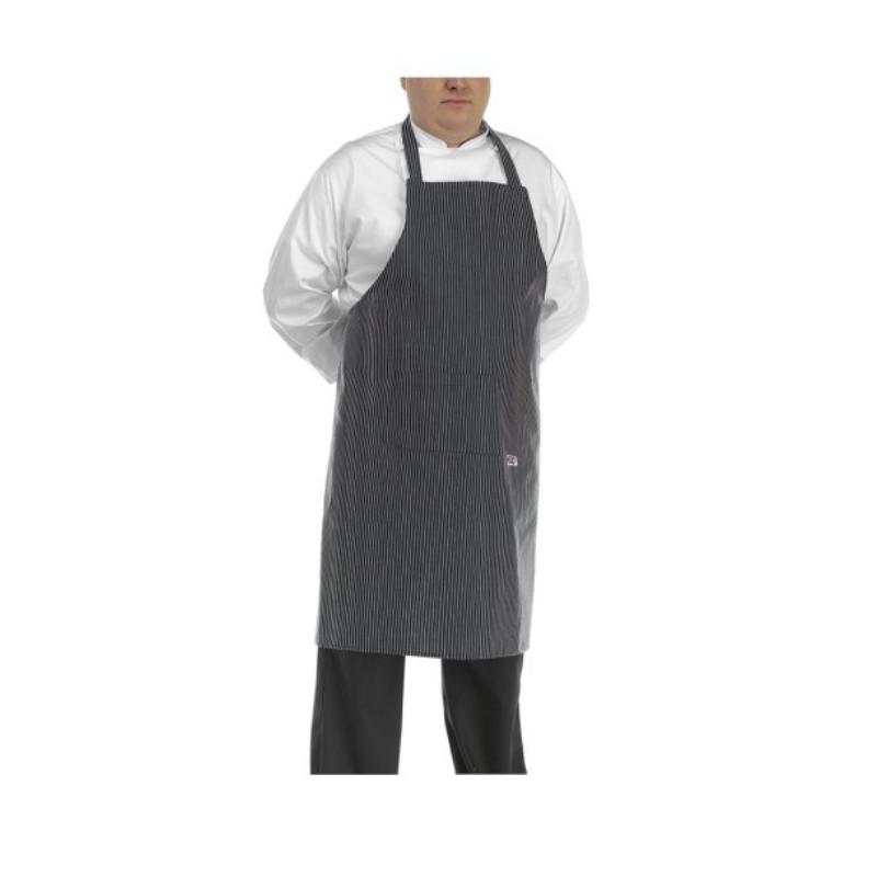 Kuchárska zástera ku krku BIG BOY - SIR jemné biele pásy - veľkosť od 5XL - 7XL
