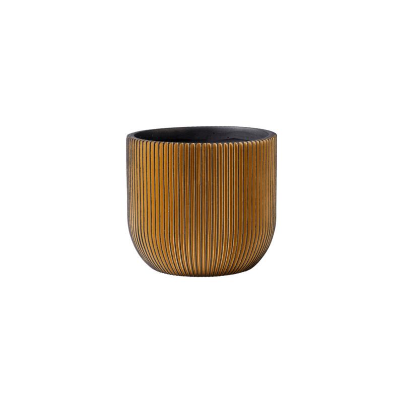 Kvetináč Capi Nature Groove egg čierny/zlatý 24x21 cm