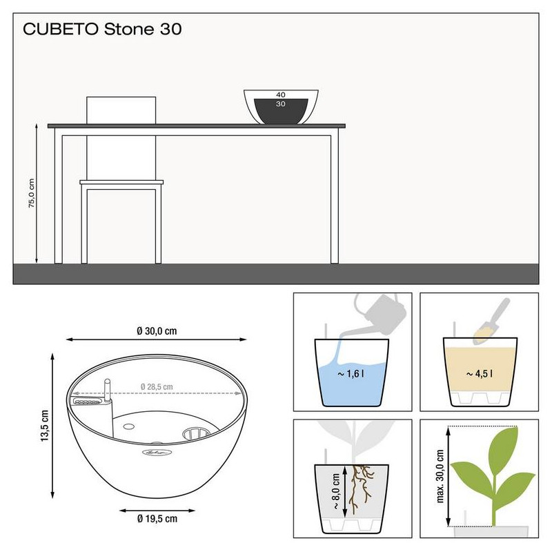 Cubeto color 40 set slate - seda 40x18 cm