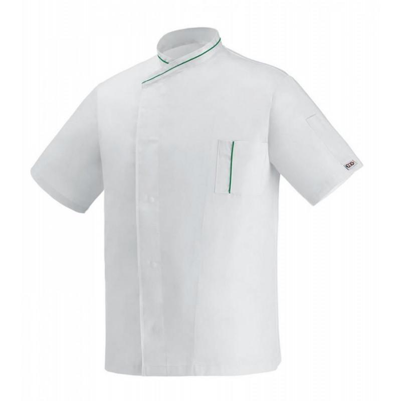 Kuchársky rondon MICROTEC krátky rukáv - biely