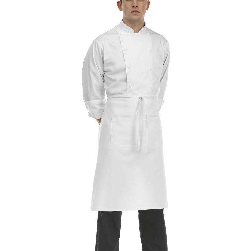Kuchařská zástěra nízká s kapsou - bílá