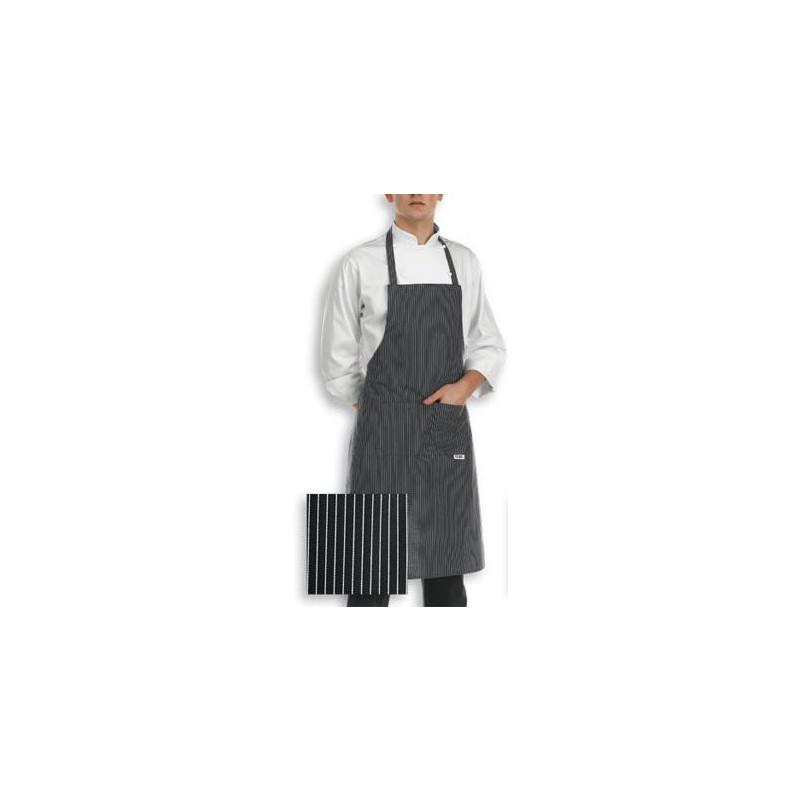 Kuchařská zástěra ke krku - jemné bílé pásy