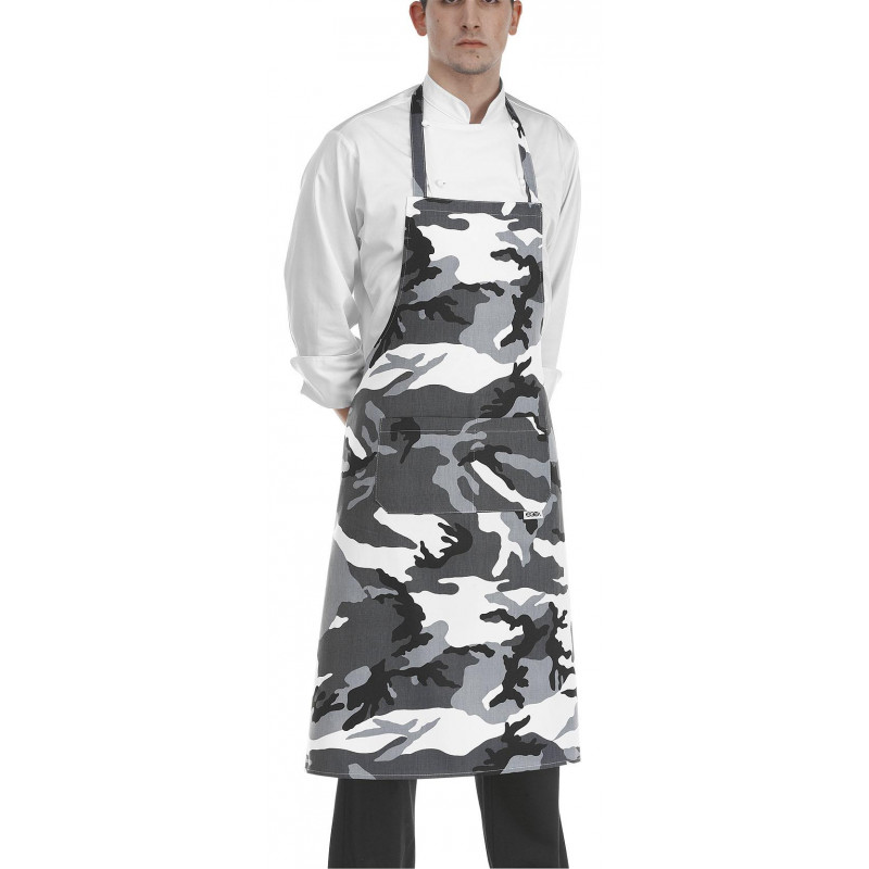 Kuchárska zástera ku krku s vreckom - vzor maskáče