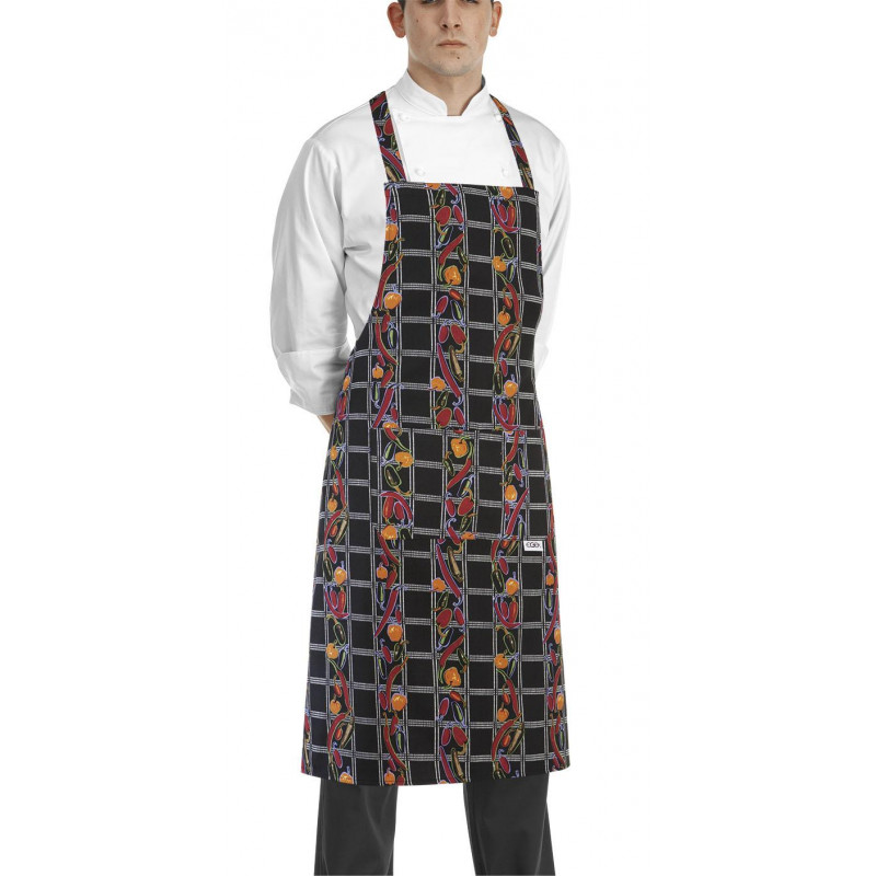 Kuchařská zástěra ke krku s kapsou - vzor papričky