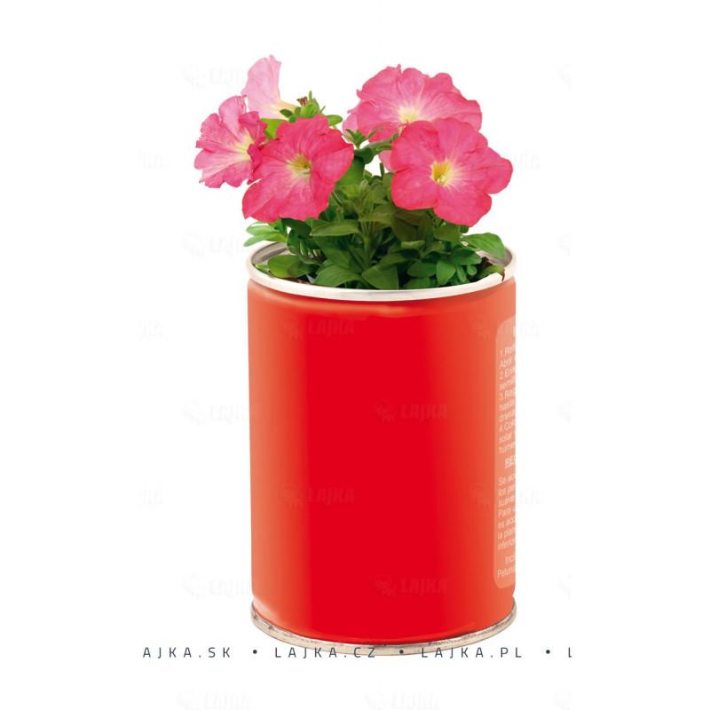 Flowcan plechovka červená so semienkami petunie 6,5×9 cm