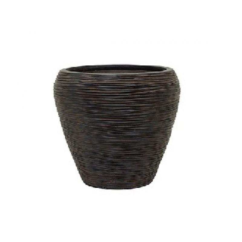 Capi nature vase tapering round rib I brown 31/28 cm