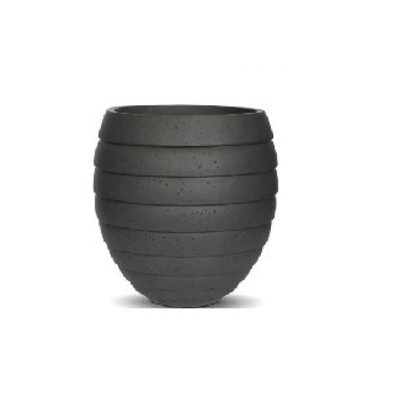 Capi Nature Vase round striped rib I dark grey
