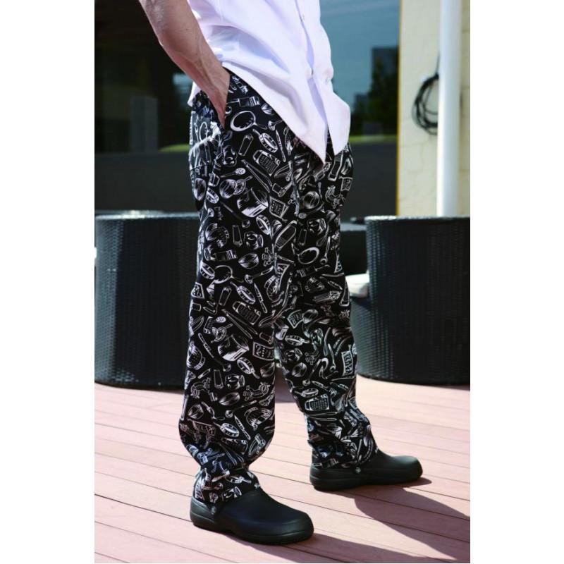 Kuchárske nohavice 100% bavlna - motív gastro - Dopredaj