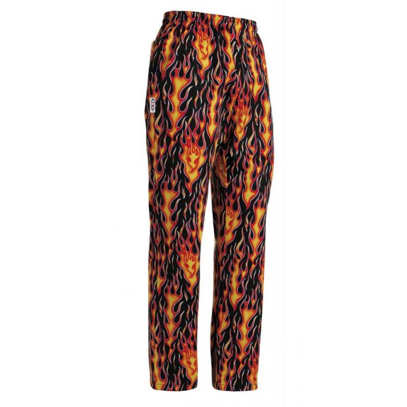 Kuchařské kalhoty Plameny, 100% bavlna
