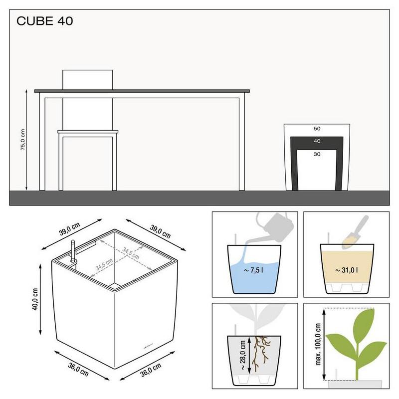 Kvetináč Lechuza Cube Premium All-in-One set biely 40x40x40 cm