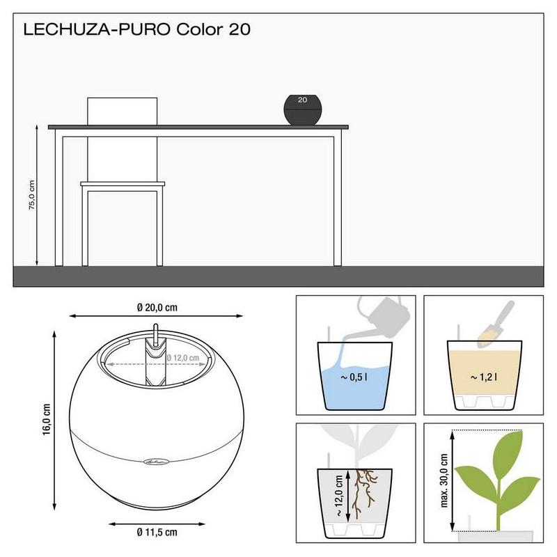 Lechuza Puro color 20 all inclusive set sand brown 20x16 cm