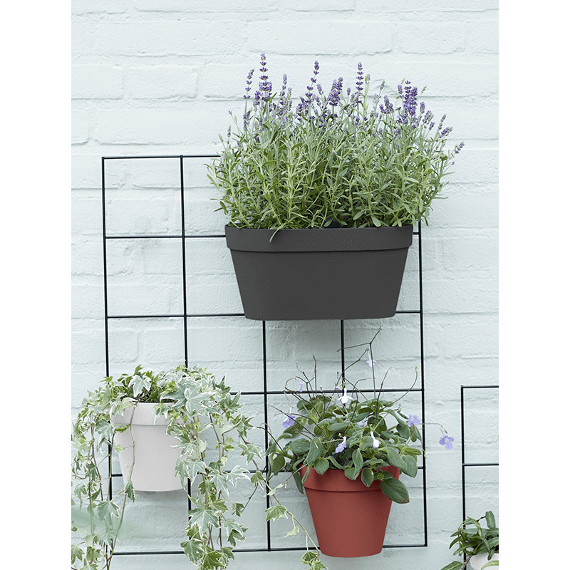 Kvetináč Loft Urban Green wall Duo antracitový 28x13 cm