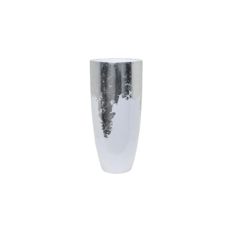 Kvetináč Luxe Lite Partner lesklý biely/strieborný 35x75 cm