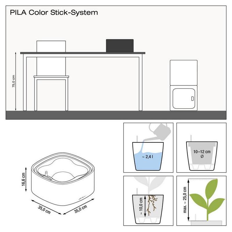 Kvetináč Lechuza Pila Color All inclusive set komplet slate - antracit 35x35x17 cm