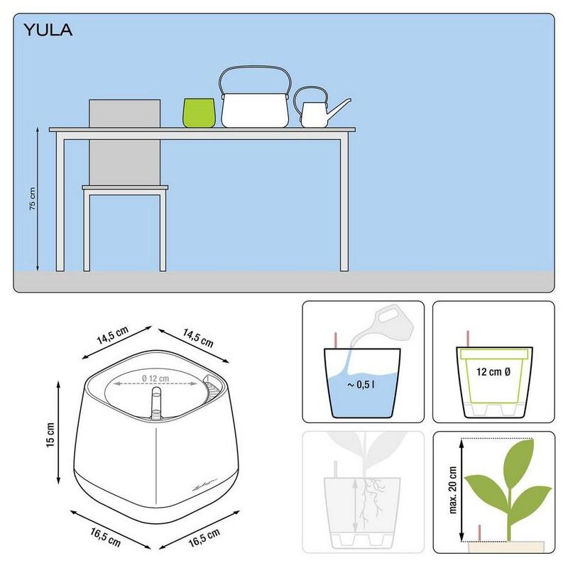 Lechuza Yula pot 17 all inclusive set biela/zelena 17x17x15 cm