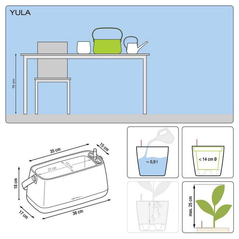 Lechuza Yula plantbag all inclusive set biela/zelena 38x17x33 cm