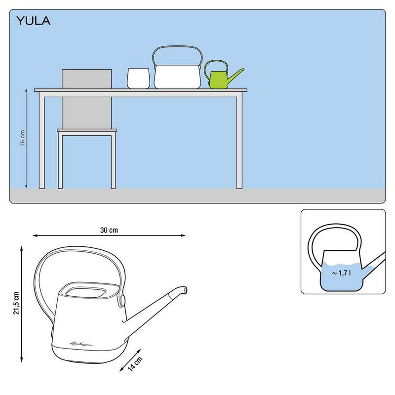 Lechuza Yula watering can biela/siva krhla 30x14x22 cm