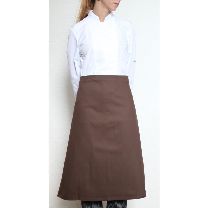 Kuchařská zástěra nízká 100% bavlna - hnědá