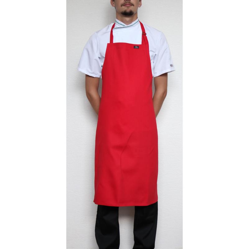 Kuchařská zástěra ke krku s přezkou 100% bavlna - červená