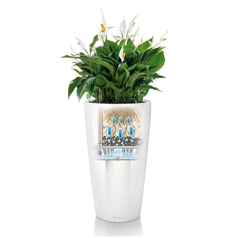 Kvetináč Lechuza Rondo 32/56 biela komplet set