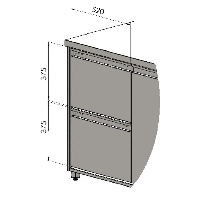 Blok 3 zásuviek - 3 x 187 mm