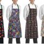 Kuchařská zástěra ke krku s kapsou - různé vzory